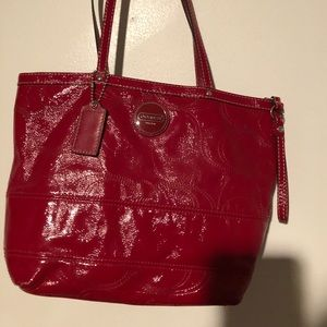 Coach Signature Zip Top Purse Red Patent Leather